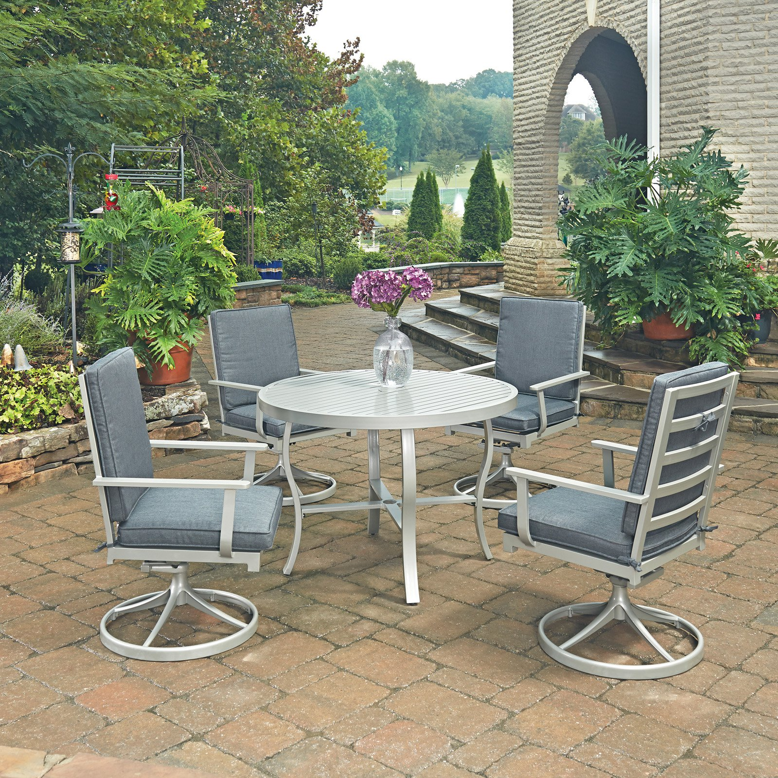 South Beach 5 Pc. Round Outdoor Dining Table& 4 Swivel Rocking Chairs