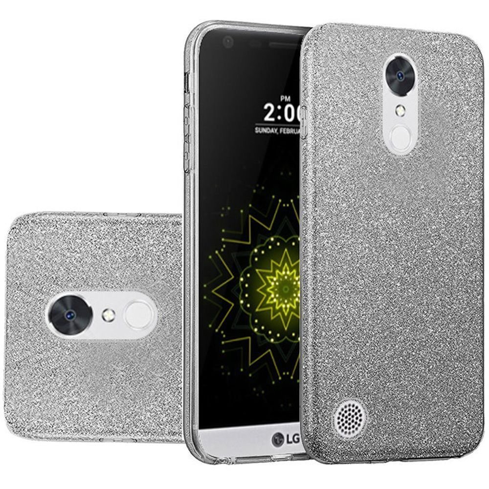 LG K20 Plus Case, V Harmony TJS Sparkle Bling Glitter Protective Bumper 3-Layer Design Drop Protection Hybrid Clear PC TPU Case For
