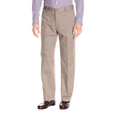 IZOD NEW Beige Mens Size 36 Khaki Chino Wrinkle Free Flat Front Pants - Izod Flat Front