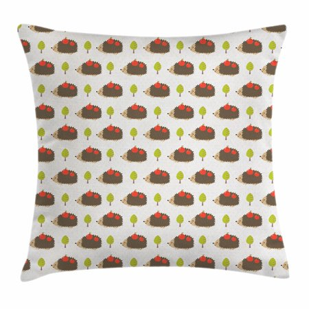 Hedgehog Throw Pillow Cushion Cover, Porcupine Animals with Big Smiles Carrying Apples on Polka Dot Backdrop with Trees, Decorative Square Accent Pillow Case, 18 X 18 Inches, Multicolor, by Ambesonne
