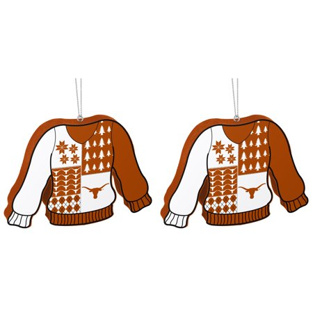 NCAA Texas Longhorns Foam Ugly Sweater Christmas Ornament Bundle 2 Pack By Forever Collectibles