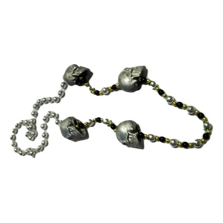 Pyrite Beaded Necklace (Silver Skull Pirate Mardi Gras Beads Party Favor Necklace)