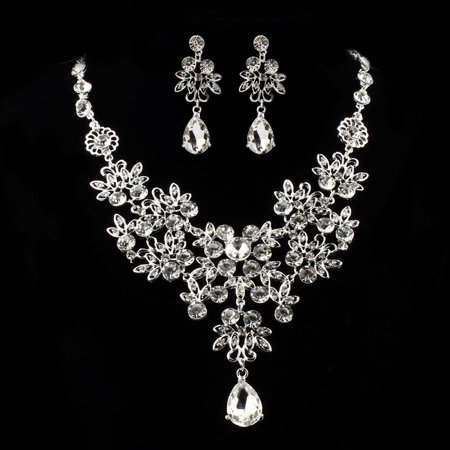 Women Prom Wedding Bridal Jewelry Crystal Rhinestone Necklace Earring Sets E](Wedding Jewerly)