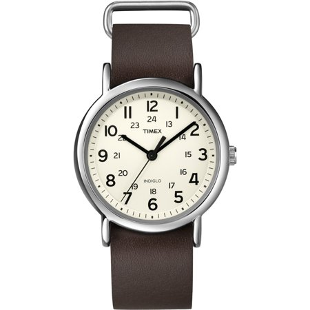 Timex Unisex Weekender Brass Case Brown Leather Strap White Dial Silver Watch - T2N893