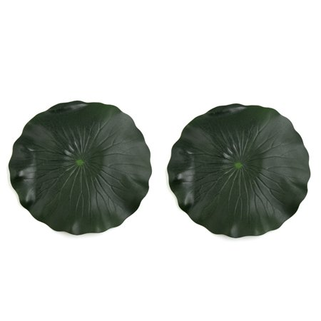 2Pcs Green Foam Floating Lotus Leaf Aquarium Pond Decor Plant Ornament 28cm Dia - Diy Fish Tank