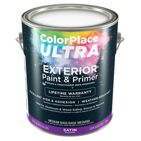 Color Place Ultra Satin Exterior Paint Primer Medium Base 1 Gal