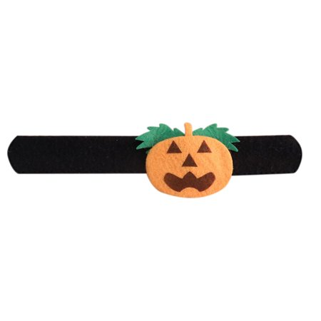 Halloween Decoration Slap Bracelet Cute Cartoon Slap Wristband Halloween Accessories Style:Black pumpkin (Slap Bands)