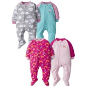 Gerber Baby & Toddler Girls 100% Polyester Fleece Pajamas 4-Pack, Size 3 Months-5T