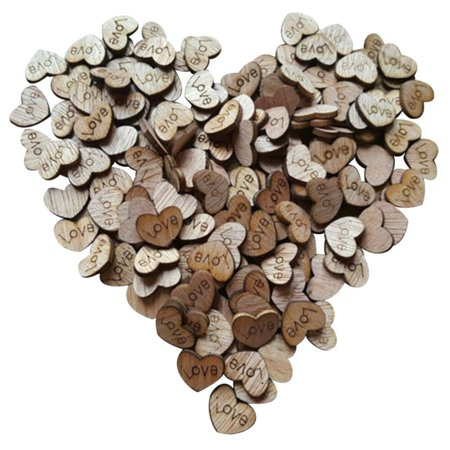 200pcs Rustic Wooden Love Heart Wedding Table Home Party Decoration Crafts (Celtic Wedding Decorations)