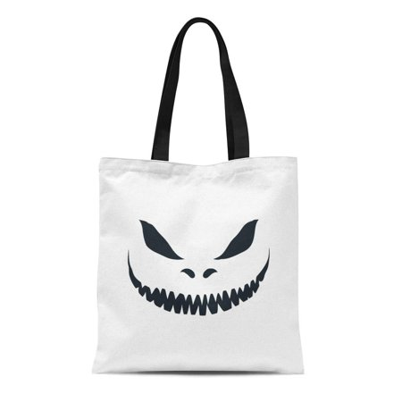 ASHLEIGH Canvas Tote Bag Yellow Smile Scary Face for Halloween Jack Evil Creepy Reusable Shoulder Grocery Shopping Bags Handbag](Scary Halloween Smiley Faces)