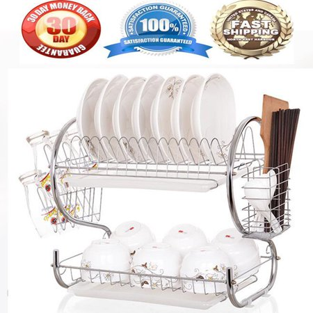 2 Tier Chrome Plate Dish Cup Cutlery Drainer Rack Drip Tray Plates Holder