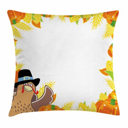Kids Thanksgiving Throw Pillow Cushion Cover, Fun Cartoon Drawing Corn and Pumpkin Rural Frame Harvest Season Food, Decorative Square Accent Pillow Case, 18 X 18 Inches, Multicolor, by - Cartoon Pumkins