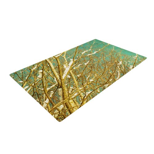 East Urban Home Iris Lehnhardt Snow Covered Twigs Teal/Brown Area Rug
