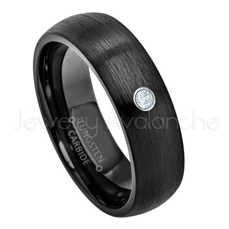 6mm Brushed Dome Black Tungsten Ring - 0.07ct Solitaire Aquamarine Ring - Personalized Tungsten Wedding Ring - Custom Made March Birthstone Ring TN233BS