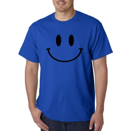 849 - Unisex T-Shirt Smiley Face Emoticon Emoji Happy Smile Large Royal