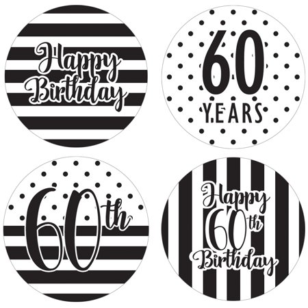 60th Birthday Party Favor Labels, 60ct - Black and White Stripe and Polka Dot Birthday Party Supplies - 60 Count Happy Birthday Stickers (1 3/4 inch)