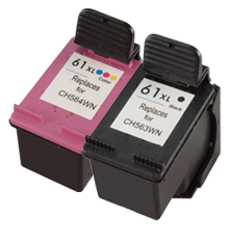 Zoomtoner Compatible HP DeskJet 3052A HP CH563WN / CH564WN (HP 61XL) INK / INKJET Cartridge Combo Pack Noir Tri-Color High Yield - image 1 de 1