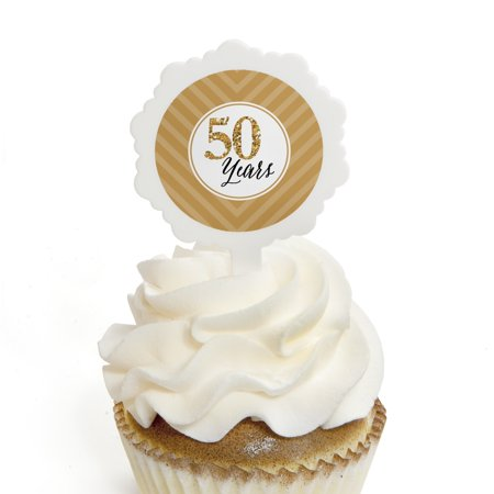 We Still Do - 50th Wedding Anniversary - Cupcake Picks with Stickers - Party Cupcake Toppers - 12 (Anniversary Cupcake)