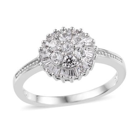 Promise Ring 925 Silver Platinum Plated Baguette Zircon Size 8 Ct 1.6 ()