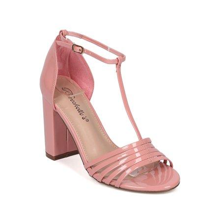 93deb83fe Breckelles - Women Patent Leatherette Open Toe T-Strap Block Heel Sandal  HA17 - Walmart.com
