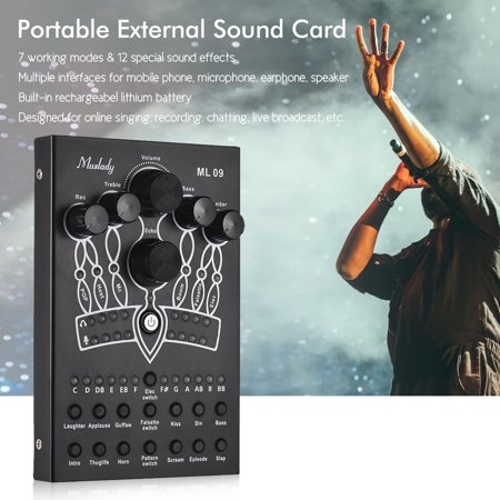 Muslady ML09 Portable External Sound Card 7 Modes 12 Sound Effects for Smartphone Computer Online Singing Recording Live Broadcast Professional Recording Sound Cards