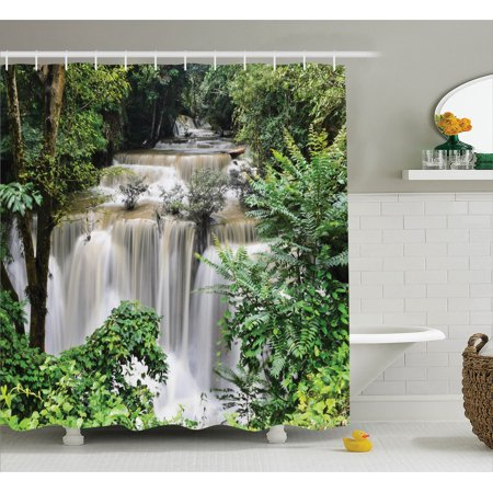 Rainforest Decorations Shower Curtain Set, Huay Mae Khamin Waterfall In Tropical Rainforest Thailand Holiday Travel Theme, Bathroom Accessories, 69W X 70L Inches, Green Brown By Ambesonne (Waterfall Shower Curtain)