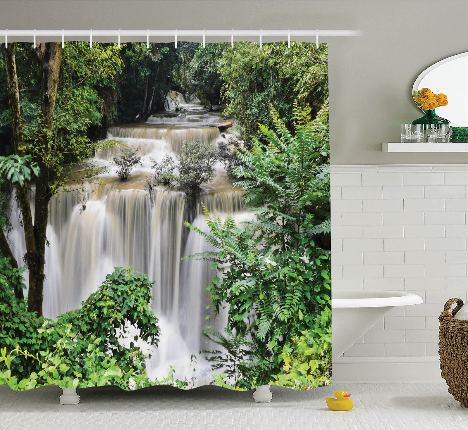 Rainforest Decorations Shower Curtain Set, Huay Mae Khamin Waterfall In  Tropical Rainforest Thailand Holiday Travel