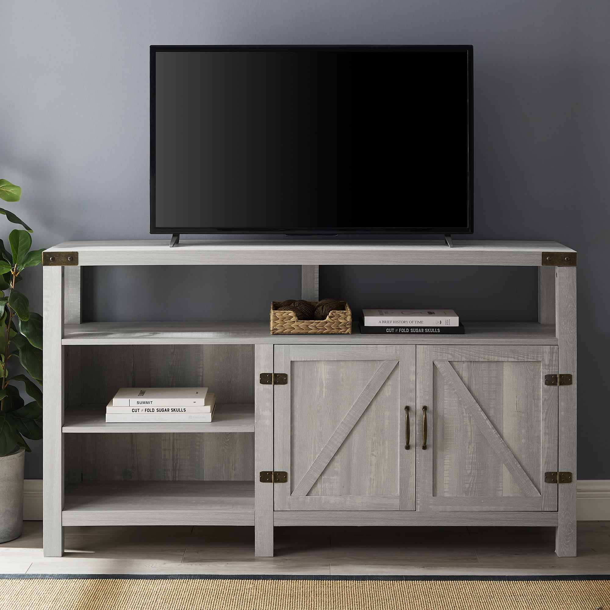 Manor Park Modern Farmhouse Oak Tv Stand For Tvs Up To 65 White Oak Walmart Com Walmart Com