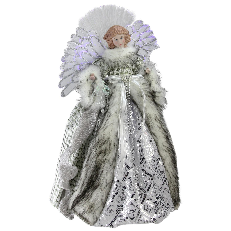 "16"" Lighted Fiber Optic Angel in Silver Gingham Coat Christmas Tree Topper - image 2 de 2"