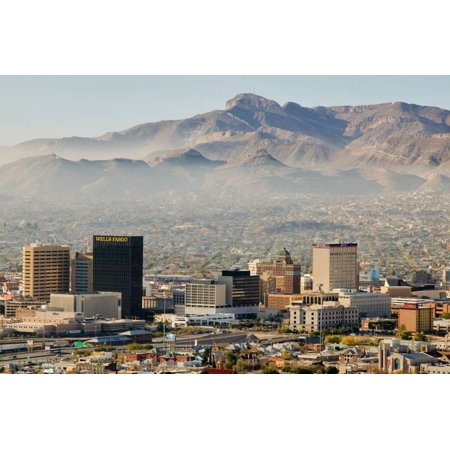 Panoramic view of skyline and downtown El Paso Texas looking toward Juarez, Mexico Print Wall Art