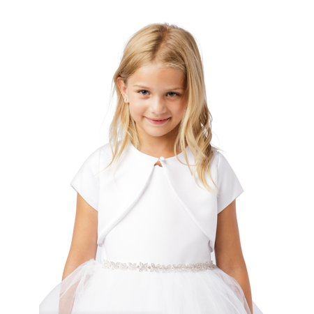 Girls Ivory Short Sleeved One Button Closure Satin Bolero Jacket Big One Satin Button