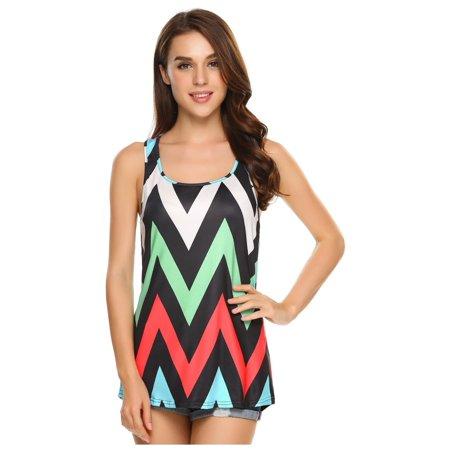 Loose High Low Hem Sleeveless O Neck Print Fashion Tank Top for Women