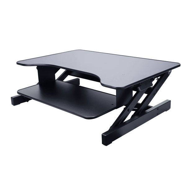 Rocelco 32 Height Adjustable Standing Desk Converter Sit Stand Up Tabletop Riser Computer Workstation Dual Monitor Retractable Keyboard Tray Gas Spring Assist Black R Adrb Walmart Com Walmart Com