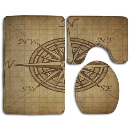 Pudmad Vintage Nautical Compass 3 Piece Bathroom Rugs Set