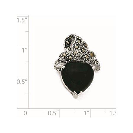 Argent 925 plaqu? rhodium marcassite et Onyx Coeur (19x28mm) Pendentif / Breloque - image 1 de 2