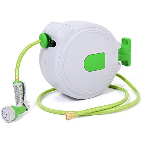 GHP 65-Ft 3/4 NPT 9-Pattern Nozzle Retractable Garden PVC Hose Reel with Spray Gun