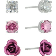 Brilliance Fine Jewelry Sterling Silver Simulated Diamond Pink and Clear Trio Ear Set