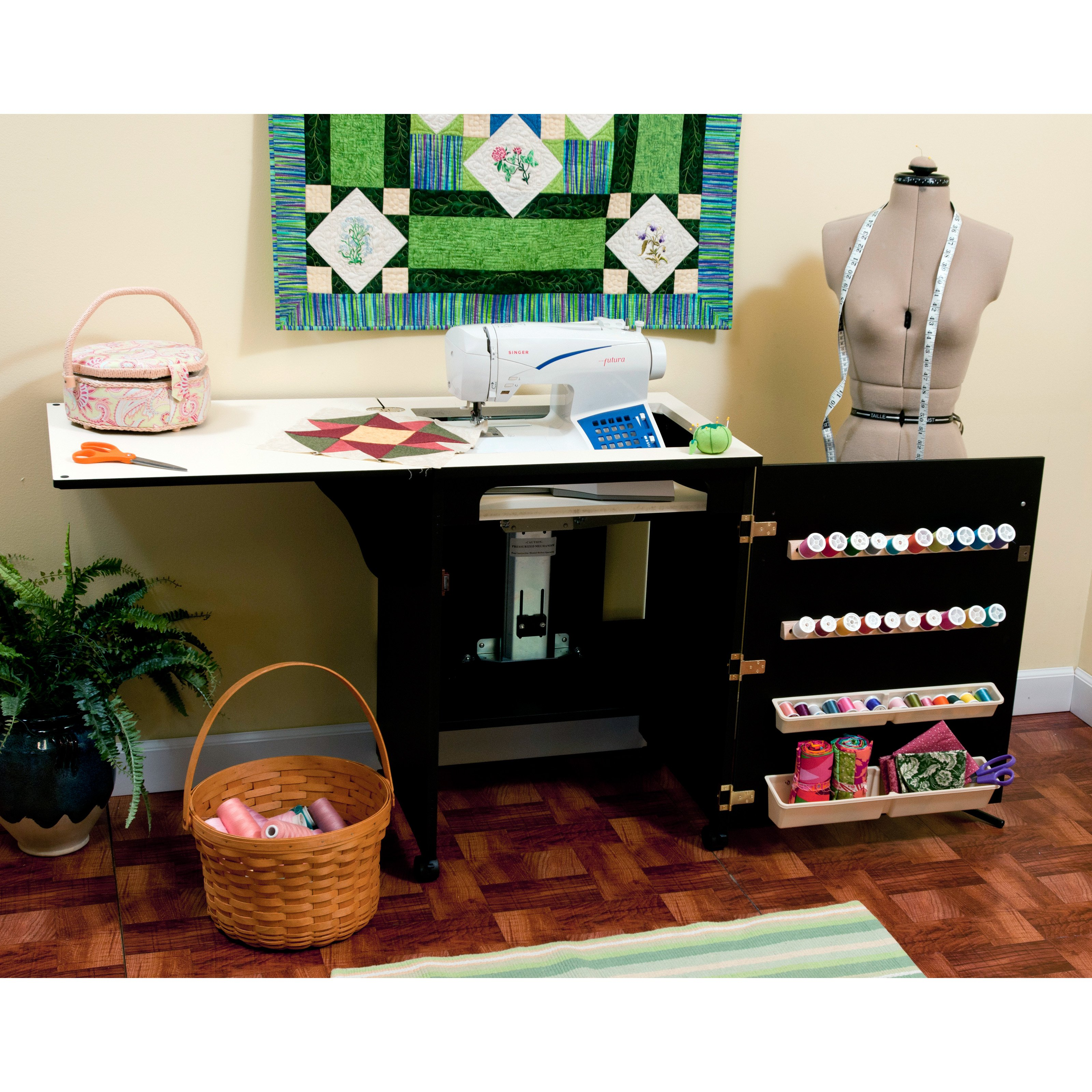 Arrow 503 - Sewnatra Sewing Cabinet - Black with air lift ...