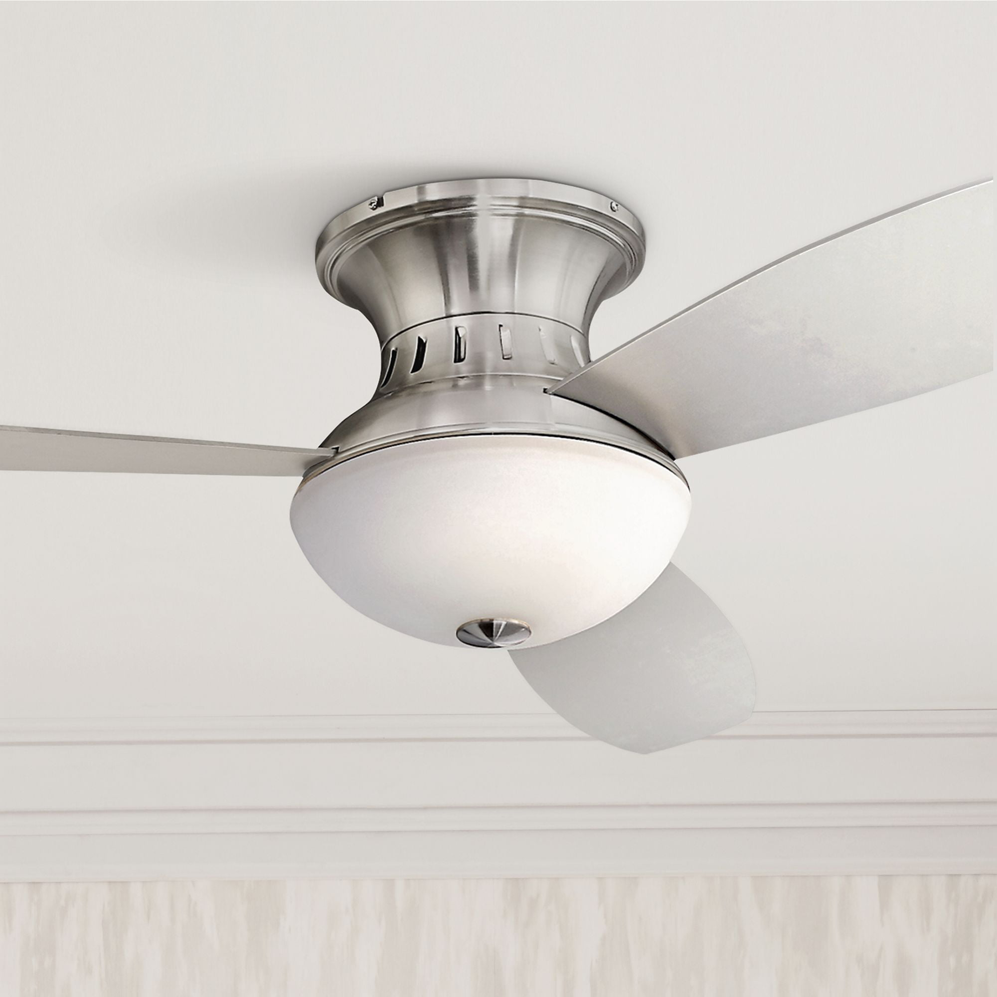 52 Quot Possini Euro Design Modern Hugger Ceiling Fan With Light Led Remote Control Brushed Nickel