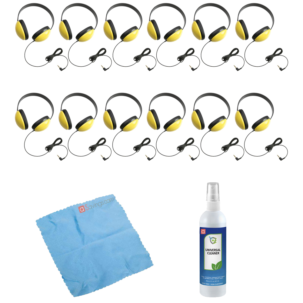 Califone 2800-YL Listening First Stereo Headphone (Yellow, 12-Pack) + Cleaning Kit
