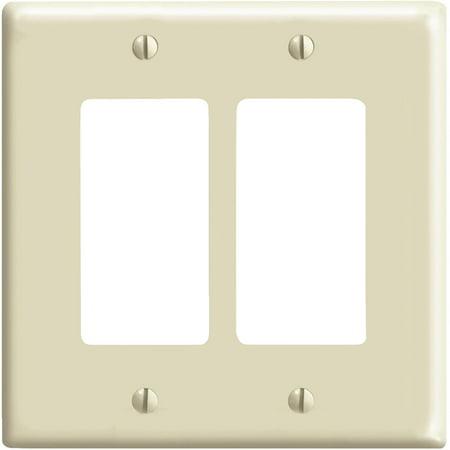 Ivory Decora Wall Plate - Leviton  001-80609-I Double Gang Ivory 2-Decora Rocker Wallplate
