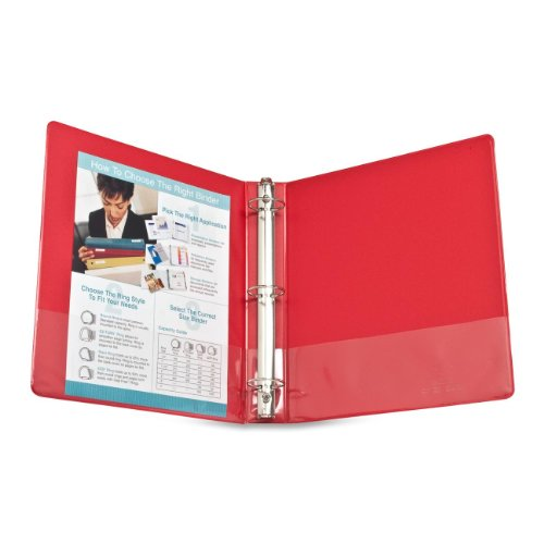 """Business Source Basic Round Ring Binders - 1 1/2"""" Binder Capacity - Round Ring Fastener - Vinyl - Red - 1.02 lb - Recycled - 1 Each"""