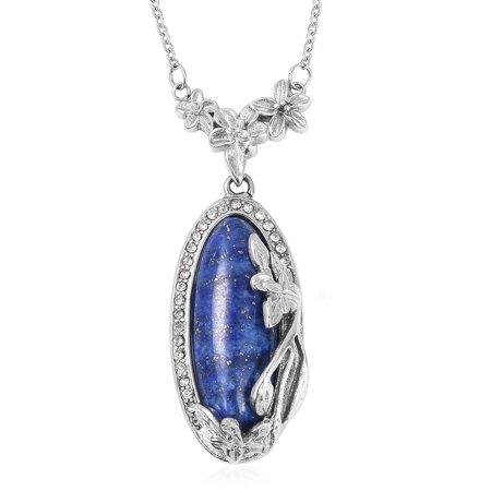 Hypoallergenic Lapis Lazuli Enameled Pendant with Hematite Beads Necklace for Women 18
