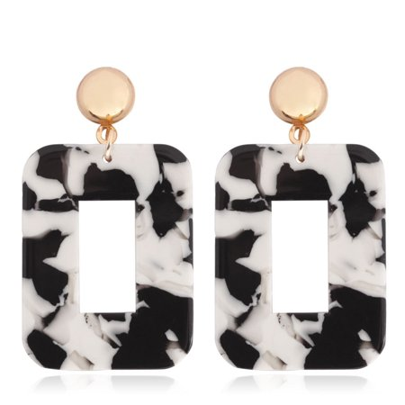 Women Fashion Resin Square Earrings Girl Party Earings Geometric Shape Long Earring Cow color