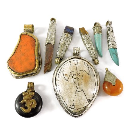 9 Tibetan Pendants Grabbag Repoussee Loose