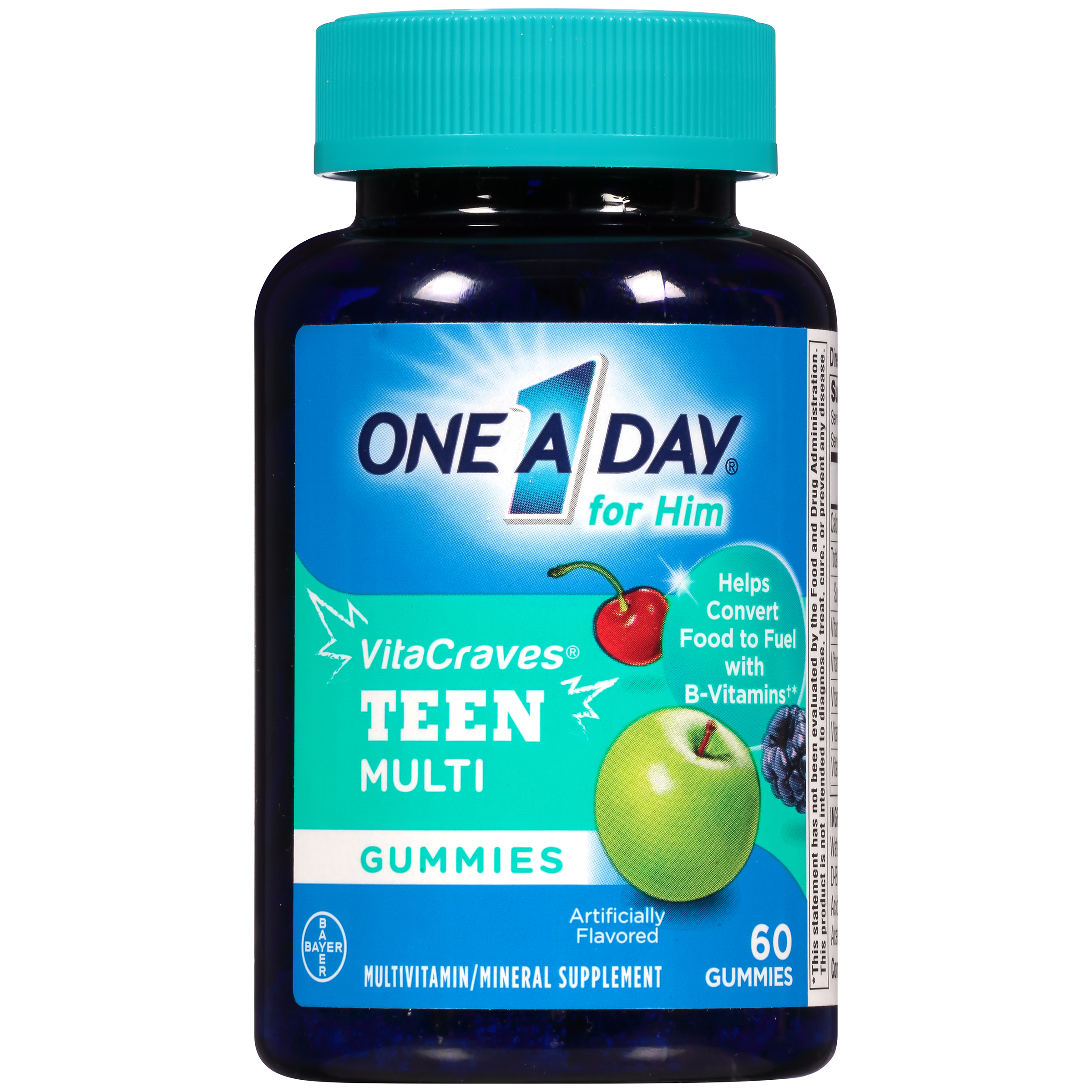 One A Day VitaCraves Teen For Him Multivitamin Gummies Supplement with Vitamins A, C, E, B3, B6, B12, Calcium, and Vitamin D, 60 ct.