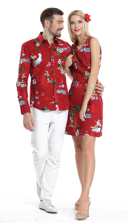 Couple Matching Hawaiian Luau Cruise Christmas Outfit Shirt Dress Santa Red Men...