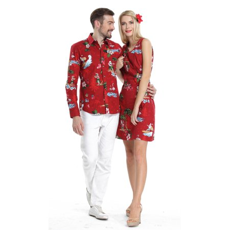 Couple Matching Hawaiian Luau Cruise Christmas Outfit Shirt Dress Santa Red Men L Women - Hawaiian Womens Clothes