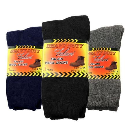 Falari 6-Pack Men's Heavy Duty Work Thermal Wool Socks Keep Warm for Cold