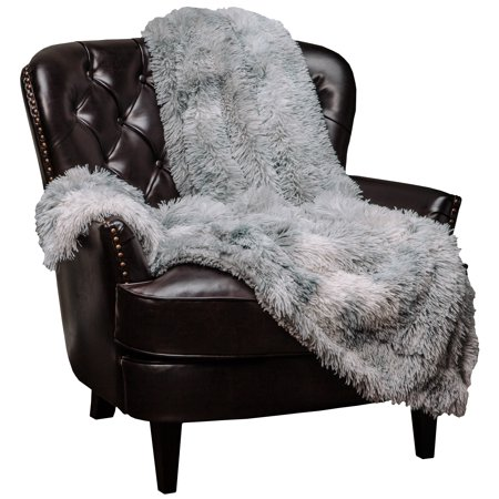 Chanasya Faux Fur Sherpa Throw Blanket | Color Variation Marble Print | Super Soft Shaggy Fuzzy Fluffy Elegant Cozy Plush Microfiber Silver Grey Blanket for Couch Bed Living Room - (50